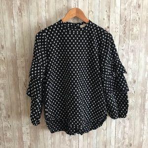 LOFT black and white polka dot ruffle sleeve top